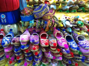 Istanbul bazaar colourful shoes