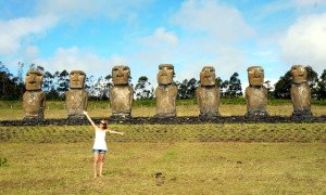 Caro on the Easter Islands with the statues