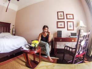 Izzy working in her hotel room in Vietnam