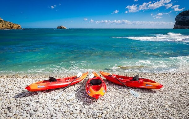 Kayaks at the beach in Javea