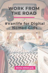 Vanlife for Digital Nomad Girls Pinterest Image Girl reading in van