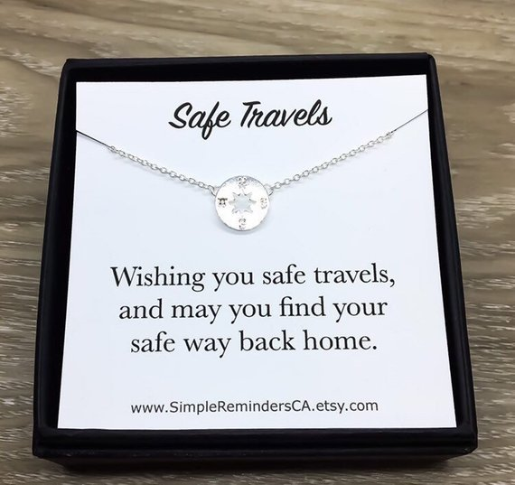 safe travels compass necklace gift guide digital nomad girls